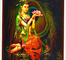 Kuan Yin And The Peacock Feather by Whimzwhirled