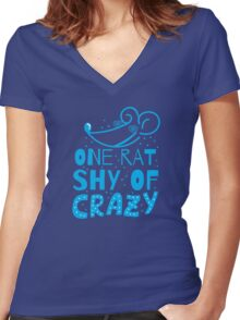 One RAT shy of CRAZY Women's Fitted V-Neck T-Shirt