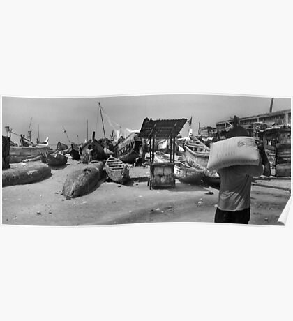 James Town Fishing Harbour - B&W Poster
