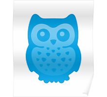Cute Blue Baby Owl Poster