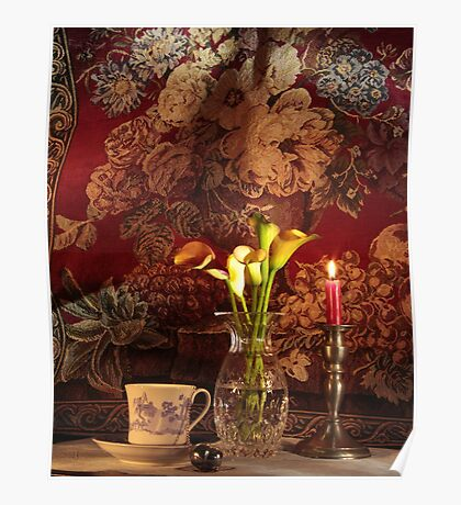 Calla Lily, Candle and Tapestry Background with Tea Cup Poster
