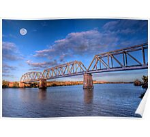 Moon River - Railway Bridge at Murray Bridge, South Australia Poster