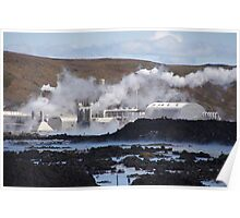 Geothermal Plant and Blue Lagoon, Iceland  Poster