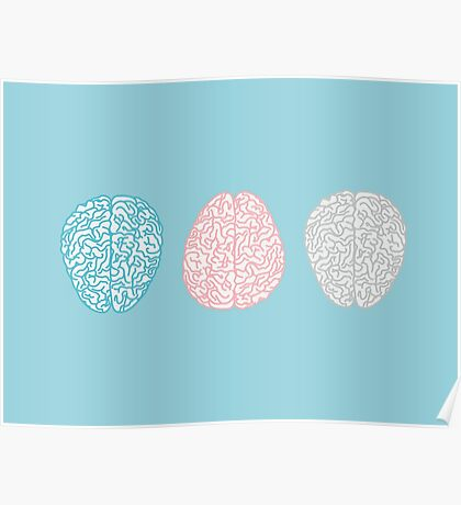 Brainy Pastel Pattern (Awesome Pastel Brains) Poster