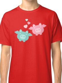 Pastel Flying Pigs in Love Classic T-Shirt