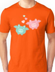 Pastel Flying Pigs in Love Unisex T-Shirt