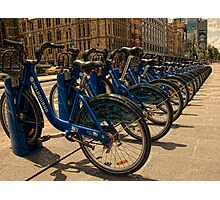 Melbourne bicycles await Photographic Print