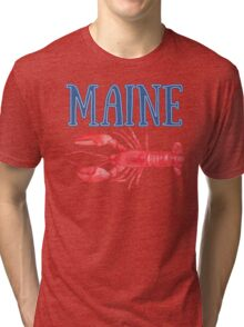 Maine Watercolor Lobster - Maine Lobster Tri-blend T-Shirt