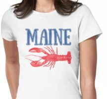 Maine Watercolor Lobster - Maine Lobster Womens Fitted T-Shirt