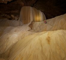 Enormous flowstone formation, Pha Mon cave, Thailand by John Spies