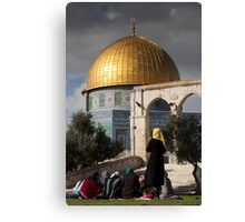 Young women at the Dome of the Rock Canvas Print