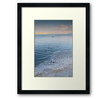 Dead Sea salt crystals and lone swimmer Framed Print