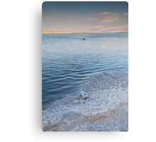 Dead Sea salt crystals and lone swimmer Canvas Print