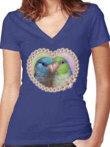 Pacific parrotlet parrot realistic painting Women's Fitted V-Neck T-Shirt