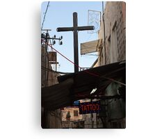 Tattoo parlour and crucifix, Jerusalem Canvas Print