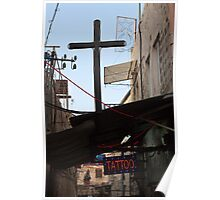 Tattoo parlour and crucifix, Jerusalem Poster