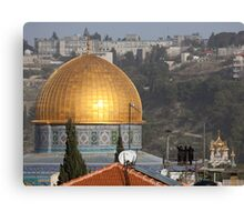 Three Jews viewing the Dome of the Rock Canvas Print