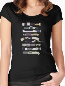 Sabers - Star Wars Inspired Minimalist Infographic Women's Fitted Scoop T-Shirt