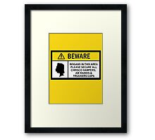 Caution - Bogans Framed Print