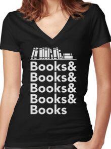 Books | Literary Book Nerd Helvetica Typography Women's Fitted V-Neck T-Shirt