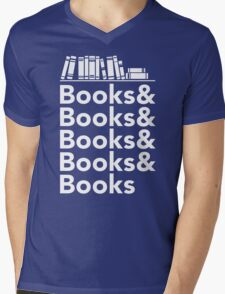 Books | Literary Book Nerd Helvetica Typography Mens V-Neck T-Shirt