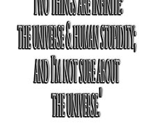 "EINSTEIN, ""Two things are infinite: the universe and human stupidity; and I'm not sure about the universe."" by TOM HILL - Designer"