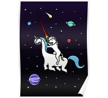 Unicorn Riding Dinocorn In Space Poster