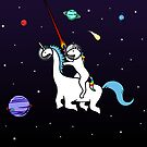 Unicorn Riding Dinocorn In Space by jezkemp
