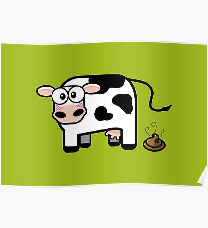 Funny Pooping Cow Poster
