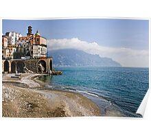 Beach scene, Minori, Amalfi Coast, Italy Poster