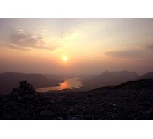 Sun descending beyond Loch Assynt & Quinag Photographic Print