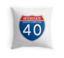Interstate Sign 40 North Carolina, USA Throw Pillow