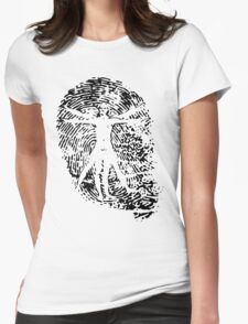 Vitruvian Man Fingerprint (Light) Womens Fitted T-Shirt