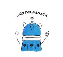 Blue Dalek - Hand drawn, Watercolor by nessaaw