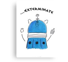 Blue Dalek - Hand drawn, Watercolor Canvas Print