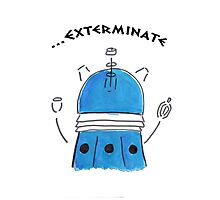 Blue Dalek - Hand drawn, Watercolor Photographic Print