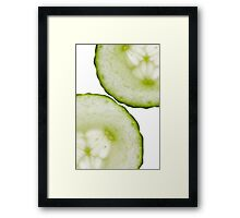 Cucumber Green White Wall Art Framed Print