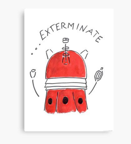 Red Dalek - Hand drawn, Watercolor Canvas Print