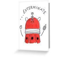 Red Dalek - Hand drawn, Watercolor Greeting Card
