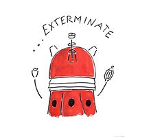 Red Dalek - Hand drawn, Watercolor Photographic Print
