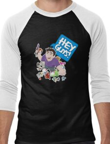 """Hey Guys!"" Cartoon Men's Baseball ¾ T-Shirt"