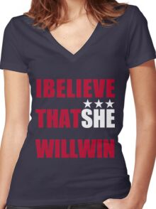 I Beliveve that SHE will win! Women's Fitted V-Neck T-Shirt