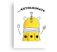 Yellow Dalek - Hand drawn, Watercolor Canvas Print