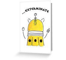 Yellow Dalek - Hand drawn, Watercolor Greeting Card
