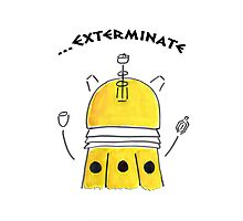 Yellow Dalek - Hand drawn, Watercolor Photographic Print