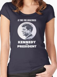 """""""A Time for Greatness"""" - JFK 1960 Campaign - female t-shirt Women's Fitted Scoop T-Shirt"""