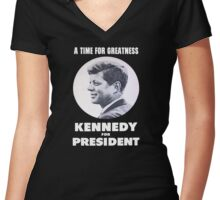 """""""A Time for Greatness"""" - JFK 1960 Campaign - female t-shirt Women's Fitted V-Neck T-Shirt"""