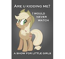 Applejack lies with Text Photographic Print