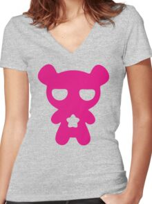 Lazy Bear Pink Women's Fitted V-Neck T-Shirt