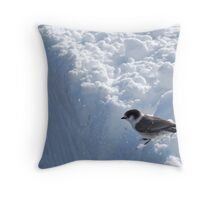 Bird on a Snowbank Throw Pillow